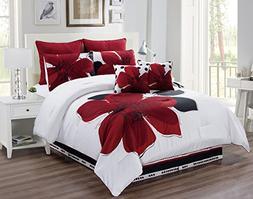 8 Piece - Burgundy Red, Black, White, Grey Oversize Comforte