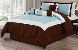 7 Piece Oversize LIGHT BLUE / WHITE / BROWN Color Block Comf