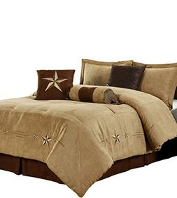 7pc Oversize Microsuede Embroidery Western Star Comforter Se