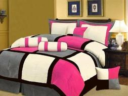 Oversize Pink Black Grey Patchwork Micro Suede Bed in a Bag