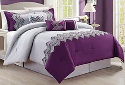 7 Piece Oversize Purple Grey Black Embroidered Luxury Comfor
