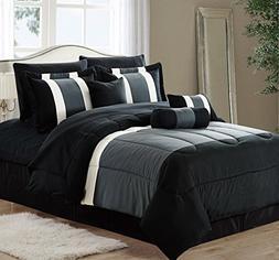 11-Piece Oversized Black & Gray Comforter Set Bedding with S