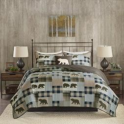 4 Piece Oversized Brown Blue White Full Queen Quilt Set, Pat