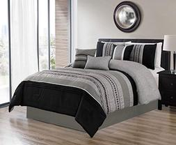 Luxlen 7 Piece Oversized Luxury Embroidery Bed in Bag Microf