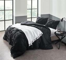 Oversized Pin Tuck 3 Piece Comforter Set Microfiber Solid Bl