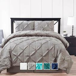 4 Piece Oxford Soft Pinched Pleat Down Alternative Comforter