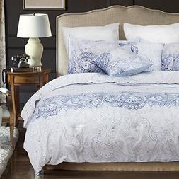 Wake In Cloud - Paisley Comforter Set Queen, 3-Piece Purple