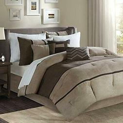 Palisades 7 Comforter Sets Piece Faux Suede Brown Queen Home