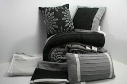 Madison Park Palmer 7 Piece Comforter Set Black & Gray King