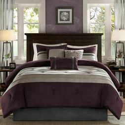 Madison Park Palmer 7 Piece Comforter Set - Plum - Full - Pi