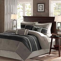 Madison Park Palmer 7 Piece Comforter Set - Black and Gray -
