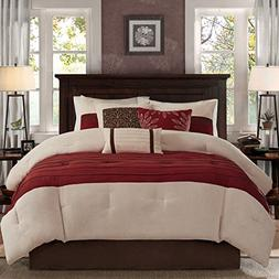 Madison Park - Palmer 7 Piece Comforter Set - Red - Queen -