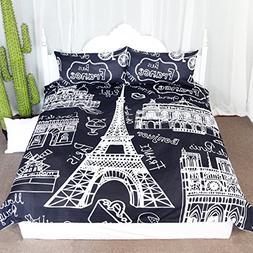 Paris Eiffel Tower Collage Scene Duvet Cover Set 3 Pieces Ch