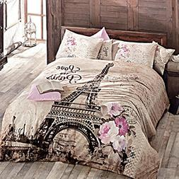 Paris Home 100% Cotton 4pcs Single Twin Size Comforter Set E