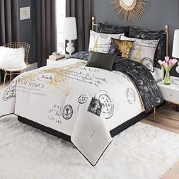 Paris Print French Comforter Set White Gold King/Queen Bedro