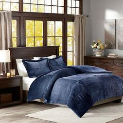 Parker Corduroy Plush Comforter Mini Set Navy Full/Queen