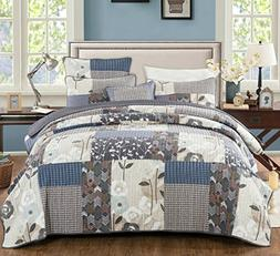 DaDa Bedding Patchwork Bedspread Set - Cotton Quiet Country
