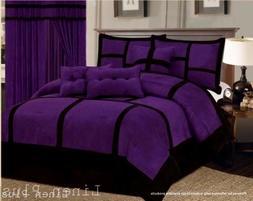 Patchwork Purple Black Micro Suede Comforter Set King Size 7