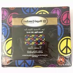 Peace Sign Twin Sheet Set Microfiber Regal Comfort Multicolo