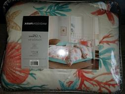 MADISON PARK PEBBLE BEACH TROPICAL QUEEN COMFORTER 7 PIECE S