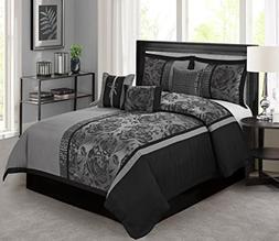 7 Piece Peony Jacquard Fabric Patchwork Comforter Set Queen