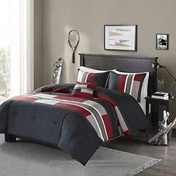 Comfort Spaces 3 Piece Coco Twin Comforter Set Printed Black and White