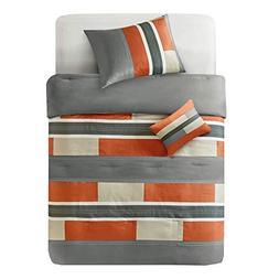 Comfort Spaces - Pierre Comforter Set - 4 Piece - Gray/Orang