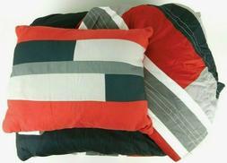 Comfort Spaces Pierre Comforter Set - 3 Piece - Black/Red -