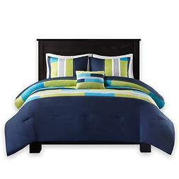 Comfort Spaces - Pierre Comforter Set - 4 Piece - Dark Blue/