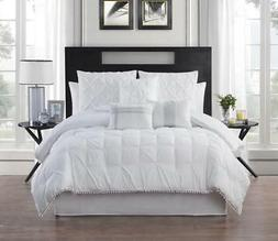 Pinch Pleat 7 Piece Comforter Set Solid Polyester/Polyfill W