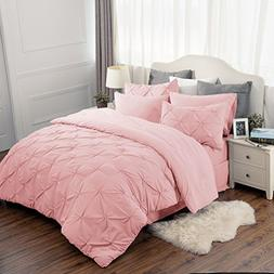 Pinch Pleat Pink 8 Piece Comforter Set King Size  BED IN A B