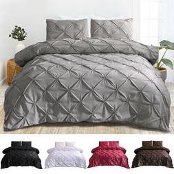 Pinch Pleat Pintuck Duvet Comforter Cover Pillowcase Bedding