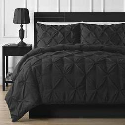 Pinch Pleated Design 3 Piece Comforter Set Solid Polyester B