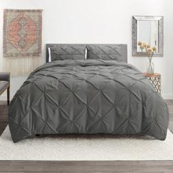 Pinch Pleated Duvet Cover Set Luxurious Premium Quality Comf