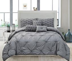 6-Piece Pinch Pleated Solid Davina Comforter Set NEW ARRIVAL