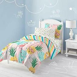 Pineapple Comforter Set, Twin, Pink Home &amp Kitchen