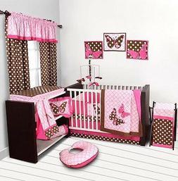 Pink Butterfly Baby Girl Crib Bedding Set Blanket Sheet Comf