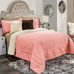 Pink Comforter set shams Luxury Bedding Blanket with sherpa