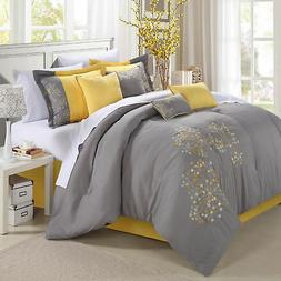 Pink floral Yellow Comforter Bed In A Bag Set 12 piece
