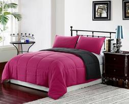PINK/GREY 3pc Comforter Set Reversible Bedding Down Alternat