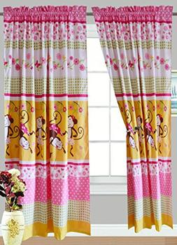 All American Collection 4 Piece Pink Monkey Curtain Set , Ma