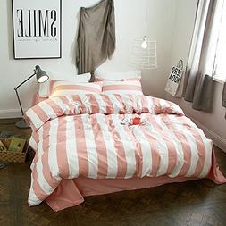 LifeTB ON SALE Pink Stripe Modern Bedding Duvet Cover King S