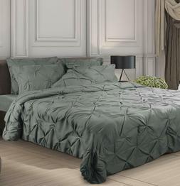 Pintuck Bedding Set 7 Piece Queen Wholesale Lot of 4 Utopia