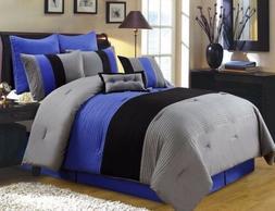 Chezmoi Collection 8 Pieces Luxury Striped Comforter Set