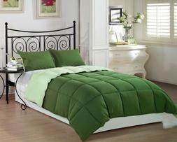 3pcs Piped Edge Green Reversible Down Alternative Comforter
