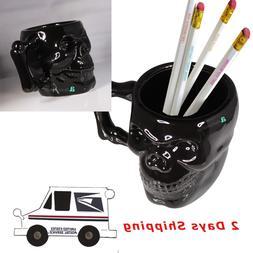 PITCH BLACK SKULL CREATIVE 3D FIGURE COFFEE MUG PENCIL BUCKE
