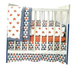Bacati Playful Fox 3-Piece Portable Crib Bedding Set, Orange