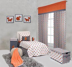 Bacati Playful Foxs 4 Piece Toddler Bedding Set, Orange/Grey