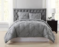 Truly Soft Everyday Pleated Comforter Set, King, Grey