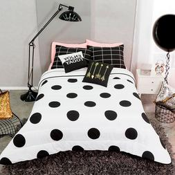 Polka Dot Black and White Reversible Comforter Set 3-5 piece